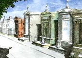 New Orleans Cemetery Watercolor Lithograph