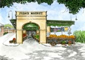 French Market Watercolor Lithograph