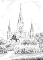 St. Louis Cathedral Ink Art