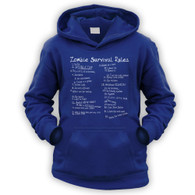 List of Zombie Rules Kids Hoodie
