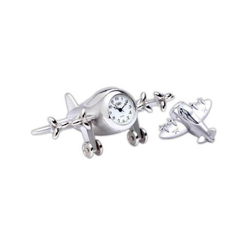 4-Propeller Airplane Clock CL-SILVER AERO-4P