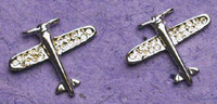 Silver Crystal Airplane Earrings JEP-CAS
