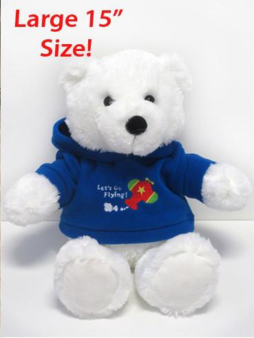 """15"""" Polar Bear in Airplane Hoodie POLAR PAL"""
