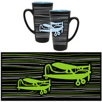 Black and White Airplane Funnel Mug with Blue or Green MG-BK/(B or G) MG-BK/B MG-BK/G