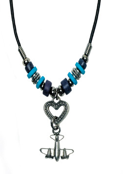 Airplane on Heart Cord Necklace JN-AHART