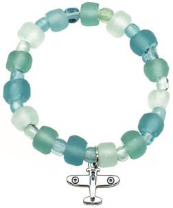 Beach Glass Airplane Bracelet JB-BGLA