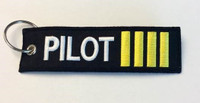 """Pilot"" w/Epaulet Bars Embroidered Keychain  KCE-Pilot"