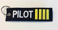 """Pilot"" w/Epaulet Bars Embroidered Keychain  KCE-Pilot"