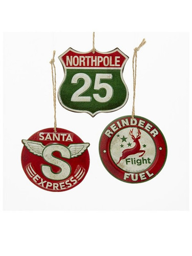 Metal Holiday Sign Ornaments (set of 3) ORN-Holiday Signs