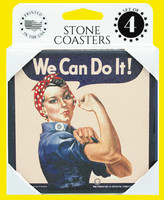 Set of 4 Stone Coasters in display box with Rosie image on all 4 coasters.