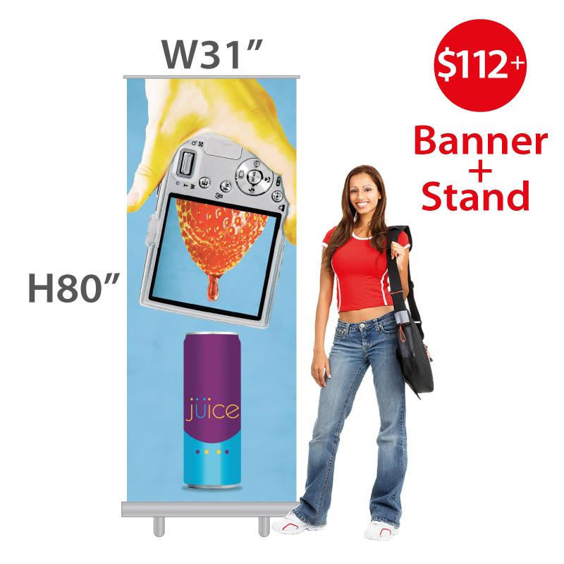 $112+ Economy Sturdier Retractable Banner Stand + Custom Print (Vinyl Banner)