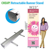 Cheap Retractable Banner Stand + Full Color custom printing on Vinyl Banner.