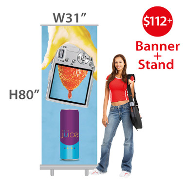 """Standard Size W31""""xH80"""" Economy Retractable Banner with custom vinyl banner printing"""