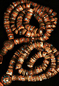 Tibet Yak Bone Prayer Beads with inlay. At Tibet Spirit Store