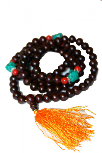 Tibet Rosewood Prayer Beads with Turquoise and stones. At Tibet Spirit Store