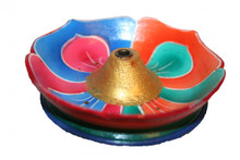 Incense burner. Handmade. Lotus flower, hand painted. Multi-colored. At Tibet Spirit Store