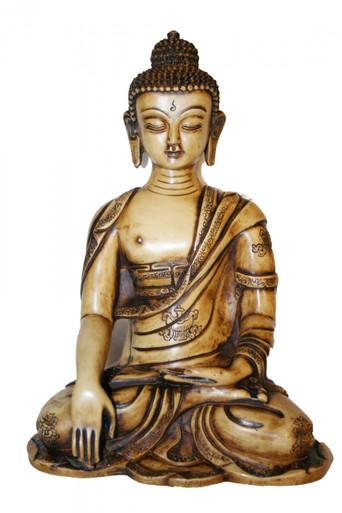 "Buddha Shakyamuni Sepia tone. 10"" 1/2"" Resin Statue. At Tibet Spirit Store"