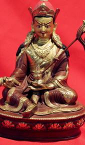 PADMA SAMBHAVA Tibetan GURU RINPOCHE Statue Bronze and Gold. Tibet Spirit Store.