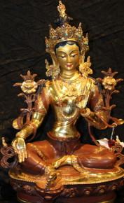 Tibet Green Tara Statue. Bronze and Gold.