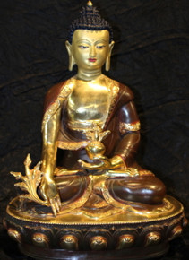 Tibet Medicine  Buddha Statue. Bronze and Gold.