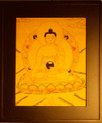 Gold Painted Buddha Thangka framed.