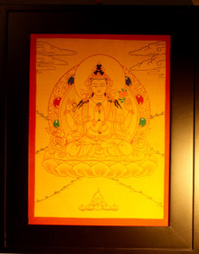 Gold Painted Chenrezig, Bodhisattva of Compassion Thangka framed.