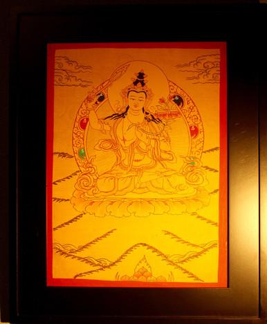 Gold Painted Manjushri Thangka framed