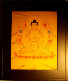 Gold Painted Amitabha Buddha Thangka framed.