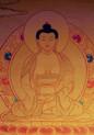 Gold Painted Amitabha Buddha Thangka framed.