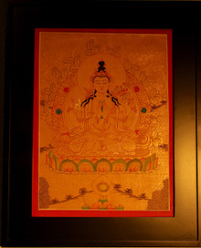 Chenrezig Gold Painted Thangka framed.