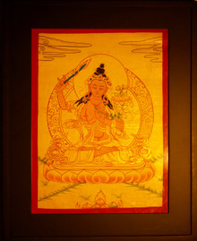 Manjushri Gold Painted Thangka framed.