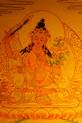 Manjushri Gold Painted Thangka framed.