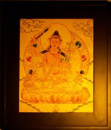 Gold Painting Manjushri Thangka framed.