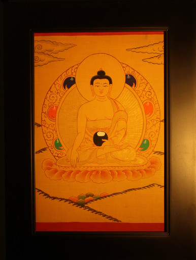 Shakyamuni Buddha Gold Painted  Thangka has framed.