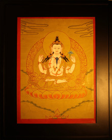 Four Armed Chenrezig Gold Painted  Thangka has framed.