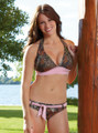 Complete Set - Mossy Oak  Pink Belted Bottom & Pink Trimmed Halter Swim Top