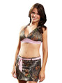 mossy oak camouflage swim skirt and halter top trimmed in pink with pink belt