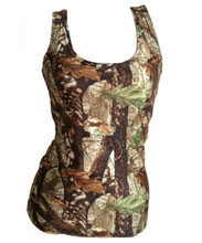 Front of The Hunter's Camo Ladies Tank Top that is fitted - Huntress Brand