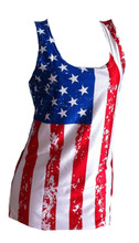 American Flag tank top for women - fitted and super silky feel - support our troops