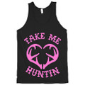Take Me Hunting Girls Shirt Tank Top with the pink color graphic on the front of the shirt