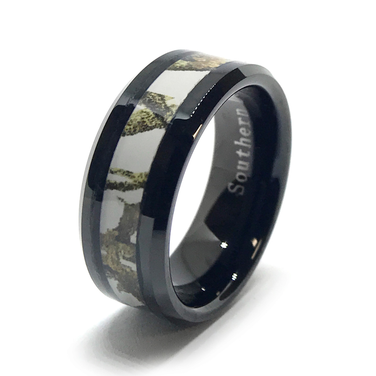 white camo on a black ring ring in and sizes