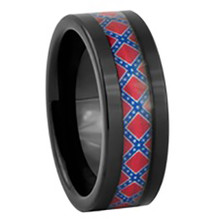 Rebel flag tungsten ring black in men 39 s and women 39 s sizes for Rebel designs jewelry sale