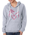 Buck and Doe Gray Women's Hoodie with Pink Graphic