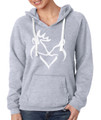 Buck and Doe Gray Women's Hoodie with White Graphic
