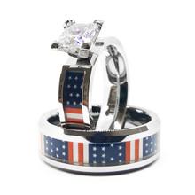 Patriotic American Flag USA Wedding and Engagement Ring Set