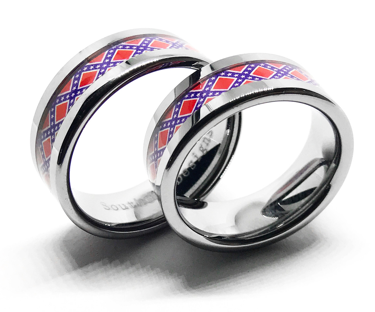 Silver Couples Confederate Flag Ring Set - His and Hers