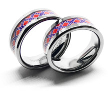 Silver Couples Confederate Flag Ring Set His and Hers