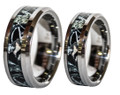 Black Camo Wedding Friendship or Promise Ring Band Set