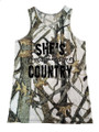 She's Country Tank Top From White Camouflage
