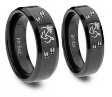 His and Hers Buck and Doe Ring Set - Hunting Jewelry - Promise Rings